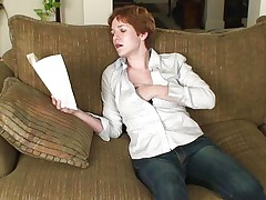 Hawt redhead Gigi is sitting on her couch, reading a book. Something in that book made Gigi horny and this babe begins to slowly touch herself. In advance of this babe knows it the naughty aged is topless and has her hand underneath those blue jeans, rubbing her pussy with desire. Keep on reading Gigi and we will keep on watching you!