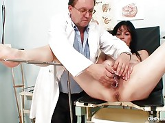 Older brunette hair babes with wonderful body and nasty breasts is sitting the gynecologist table absolutely in nature's garb with her legs spread so that her doctor can exam the wet crack between them. He recommends her a sextoy therapy so the treatment starts as he introduces that sex toy unfathomable in her bald vagina. This babe becomes horny and does treats her pussy with her own hands.