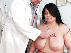 Chubby brunette Rosana went to doctor's to get her body checked up well. But there is this nasty pervert doctor who makes her naked and begins playing with her firm obese body! See how he is toying with her huge tits and gaping her pussy. This guy even fingers it to make her horny so that he can screw her well!