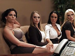 Watch these four hot honeys seducing their boss for a salary raise. See how they're undressing and begin touching, giving a kiss and licking each others bobs. Seems that the boss is joining the party so they begin sucking his hard cock. Somebody is getting a salary raise!