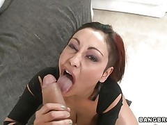 Priya Rai is busty babe. Look at her sexy round boobs and hard nipples. This floozy knows how to suck a dick. Here she is showing her huge boobs and wet fur pie to her man to make his 10-Pounder hard. Then she is engulfing her man's 10-Pounder to give him a mouthful oral-service with nice up and down hand job.