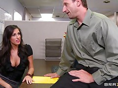 Look at that hot brunette hair telling her boss to come in the storage room so she can castigate him for trying to fuck them. Two of her allies come along and they get horny on that chaps cock. Are they going to get some spunk on their hot lips or some hard schlong in their tight pussies?