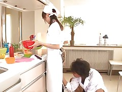 18 yo Japanese sweetheart Asuka does her job in the kitchen when this man begins playing with her cunt. That babe tries to ignore him and continues cooking but that fake penis that guy uses makes things very difficult for the gorgeous oriental girl. What do u think, is this babe good at fucking as this babe is at cooking?