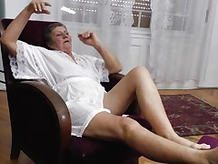 Watch this short haired granny masturbating in her room. She is alone and this babe needs to calm the doxy inside her who needs knobs to fuck. So this lady has only one way to survive. That is playing on her own! Watch how this babe is groping her own tits and then rubbing her bawdy cleft in advance of doing a nice fingering!