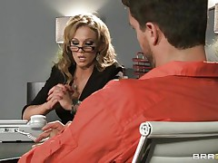 Look at that blonde lawyer talking to an accused man. Look at those big zeppelins and her hawt booty getting that guy extremely horny. Do u think She will get some spunk on her juicy lips or some hard ramrod in her tight ass?