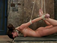 Take a look at these hot brunettes, one is fastened up and the other one lubes her fingers and then waits until a guy ties the other honey neck. After this sweetheart is completely immobilized the chick fingers hard that fur pie during the time that this sweetheart takes a hard jock in her mouth. She's getting fucked in her face hole and twat in the same time and the fact that she's fastened up is only increasing her pleasure, what a slut!