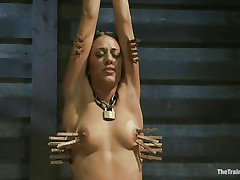 Hispanic gals are hot and the fact that Lyla is tied and punished makes her even hotter. Her executor putted clothespins on her body and this chab rubs her clit with a sex-toy making her scream with pain and pleasure. This babe loves it and her tight body barely handles all that stimulation. Will she get drilled too?