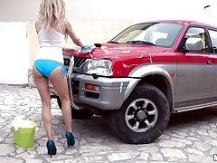 Hot Michelle Moist is at outdoor washing a car. And that babe is all wet due to this washing stuff. Well, wet means that babe is wet in her c section too. Getting crazy with her temptation that babe is taking off her clothes and showing her small mangos and constricted ass. And that attracts a rod which that babe is engulfing now.