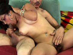 Slutty plump chick gets her hawt hirsute cum-hole drilled by a dick!