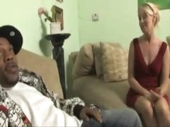Blond milf in a red suit wants huge darksome dick
