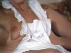 Classic porno with solo honey in apron