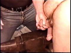 Hawt muscle stud Derek Da Silva gets balls bashed on iron anvil.