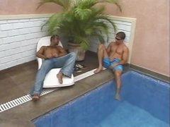 Two guys seduce tgirl outdoors