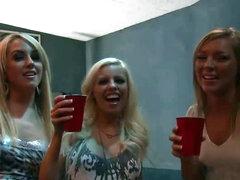 Four Slutty Sluts Take On Two Fortunate Cocks