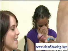 Slutty cfnm girls playing with jock at the hair studio