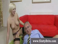 Stocking wearing youngster receives creampie by old perverted man