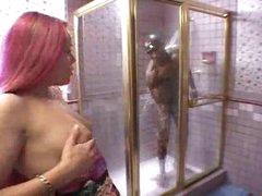 Black girl sucks monster black cock in shower