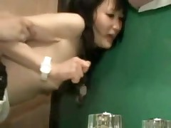 It is a taut fit in this bathroom, and a taut fit in her pussy.  But this pair manages to fuck in several different positions, and lastly this chab leaves his hot cum inside her, a worthwhile creampie for us to see.