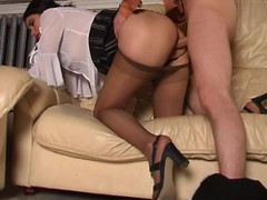 Lascivious chick savoring fervent cunt massage with her silky hose on