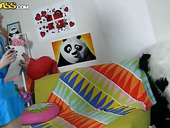 The horny Panda found this time a girl obsessed with him! This beauty has a poster with panda on the wall and draws a picture of him now. She's so excited and happy that lastly panda visited her but does this babe knows what his intentions are? Well this babe maybe a bit virginal and stupid but that's how panda can't live without it!