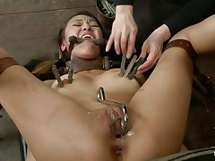 Jayden Lee is an oriental beauty with large tits and a sweet ass who loves being prepared to handle tough situations like this one. This babe moans with the one and the other pang and enjoyment when she bites hard on that throat gag and. Watch her not quite having an orgasm when those iron clothespins are squeezing her nipples.