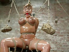 This is a nice sight! Breasty milf Ava is oiled up and tied hard. Her large boobs are squeezed with rope and at the end of the rope two large and heavy rocks are used as weights to keep it tight. Then her mistress comes and fills her hairless cum-hole with a marital-device while using a marital-device on her clit. It's hot!