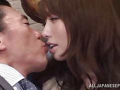 Arisu loves her boss and her job. She does everything in her force to make her employer happy even if it means to be a total slut. Arisu allows him to grope her pleasing boobs and then take up with the tongue her cunt over these pantyhose. Take a look at her and that cum asking pussy under her panties, that babe actually needs it fucked now.