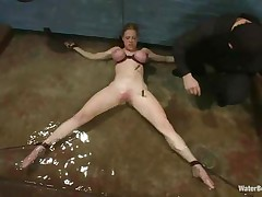 Blonde Darling is bound on the floor with her big boobs squeezed and her hawt body tortured with laundry pliers. She begins to panic because the water level is rising and pretty soon breathing will be a big problem for her pretty mouth. What will that hottie do if her femdom-goddess decides that she's not worthy to breath.