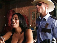 This excited policeman finds a nice milf in a bar and when that honey sees him that honey grabs him by the collar and begins getting horny. He takes her big sexy milk cans out squeezing and kissing 'em and after that grabs this slut by the neck and gives her his cock. See her as that honey sucks his dick with pleasure, is that honey going to get some spunk?