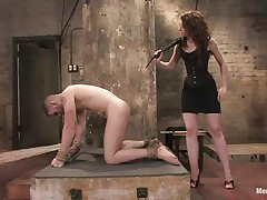 Hawt guy Wolf has his hands tied up by a very hawt femdom-goddess called Amber. She enjoys attaching weights to his nipples and bald balls. Then, this chab gets his tight wazoo whipped for being such a bad boy. What punishments do u think that babe has prepared next for him?