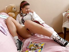 Here young sweetheart Klara is entertaining her viewers by showing her nice, smooth and attractive body with sexy boobs and cherry like hard nipples on the top of those. Then her lust increases and her pants automatically goes off and a appealing pussy fingering is taking place which will make u horny.
