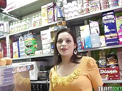 Grocery's are an important activity but fucking is a lot more important. During the time that I was in a store I discovered this beautiful dark brown milf with sexy pink lips and legs that made me wondering how precious they will look spread. In a short time I pleasant talked her and here you have it, naked, excited and willing to masturbate for us