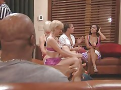 The couples gathered jointly in a room and the men sit quietly as their wife talked about sex and how they should fuck. A fat Chinese prick is being interviewed and his opinion is that this stuff is just like dating. Well now, let's leave them to talk as we enjoy how those naughty blonde cunts have some fun.