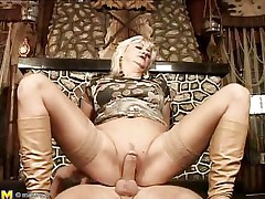 They say older honeys are beautiful lovers, and this is one mature woman! That babe loves getting boned, riding her stud's meat just as good as any young slut could do if not better. That babe gets her pussy pounded before laying on her back and her man getting betwixt her, drilling her well-aged cunt.