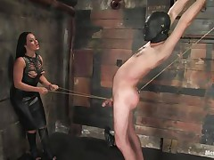Marioara is a bitch from Romania, this doxy has the skills to satisfy each stud that wants some domination and pain. Here this babe is in full act taking nice care of her sex slave, Lefty, and this babe does her almost any good 1st by using a rope betwixt his legs and then whipping him, now this babe thonged on a dildo, what will this babe do with it?