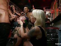 Proxy Paige is a blonde milf longing for punishment. The cute girl with tiny round natural milk shakes enjoys being fastened up and getting anal drilled in a bar. Gorgeous Lorelei Lee and Mr. Pete are making sure that babe gets what that babe deserves. The white stud bangs her throat roughly as that babe groans with pleasure and pain.