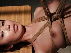 Have a look at this hawt cunt, she's all tied up and hangs there quietly until that babe receives roughly mouth fucked with a dildo. The intensity and brutality of the fucking makes our slut horny! She's not merely fucked, the executor slaps her and strangulates her too. After all that he leaves the bitch hanging in the dark