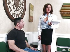 Veronica knows how to take care of her patients. She examines this man and then makes a decision that the flawless treatment for him would be a mean blowjob. The hot milf doc opens her mouth with pleasure and slides her lips and tongue in that big hard penis. Will she acquire repaid with a big load of semen on her face?