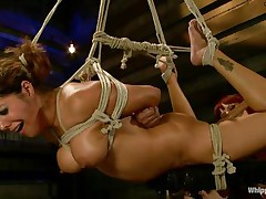 Francesca Le is a hot milf who's bound and getting vibed and dildo-fucked by Maitresse Madeline. Francesca acquires permission to cum and this babe does. Next the position changes and Maitresse acquires the ding-dong and plunges unfathomable into Francesca's taut asshole, making her moan loudly through her ball gag.