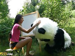 Mr. Panda is outside in the centre of nature and the thin brunette honey that's with him wishes to prove him what an artist this sweetheart is. Well, this sweetheart may not be good at painting but this sweetheart surely knows how to make him cheerful by engulfing his big panda cock. Stay with 'em and have a fun the wilderness of the forest and much more