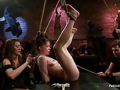 This babe was a very bad angel and the public is determined to give her a disgraceful punishment. Look how she hangs there bound up and with her bawdy cleft on display, waiting to get fucked hard and deep. Her wait is soon over as a man inserts his erect pecker unfathomable in her delicious vagina, wonder if that guy will cum in her?