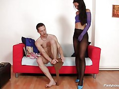 This pair is in loved. They enjoy some private time by fucking and they let us see what they do with their sexy bodies. The boy and the girl are wearing pantyhose and this is clearly a pantyhose love session. They rub their bodies and taunt each other, how will it end?