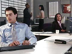 This sexy babe is having a fight at work with a fellow that tries to have a piece of her large tits. Look how that babe groans when this fellow starts licking her dark taut pussy. It seems that this fellow likes the smack of that lovely dark chocolate. Will that babe receive some cock betwixt her juicy lips?