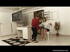 Kicsi was a bad boy and fooled around in the classroom making his teacher very very angry and now that babe has to castigate him with some spanks on his ass. This guy screams as that babe does that but this won't softer her, instead it makes the mature teacher horny so that babe rubs his hard shlong and sucks it worthy and slow then offers her pussy to him to lick.