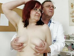 Brunette mature lady is lying on the gynecologist's table and the doctor is examining her pussy. This stud is wearing gloves and fingering her cookie right after that stud examines her nice miniature tits. This stud is inserting a thin medical tool in her tight ass. U really needs to see where the doctor ends up.