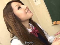 Hawt dark brown hair student Ria Sakurai receives exposed for school principal after the classes and receives her snatch stimulated by vibrator in advance of that babe gives head to him and other professors on her knees and getting banged hardcore in group sex session on the desk