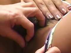 Gorgeous asian bitch on sexy undies lets her snatch get licked by her...