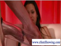 Cfnm beauties pumping and blowing cock