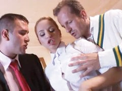 Prep school girl fucked by country club studs